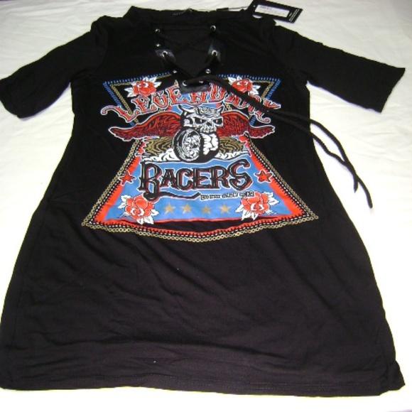 e44cc845cf5 Racers PLT Black Lace Up T Shirt Dress